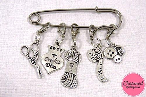 Crochet Diva–Crochet Stitch Marker–Silber Set von 5–perfekte Geschenk oder Strumpffüller für diejenigen, die lieben Häkeln oder Stricken