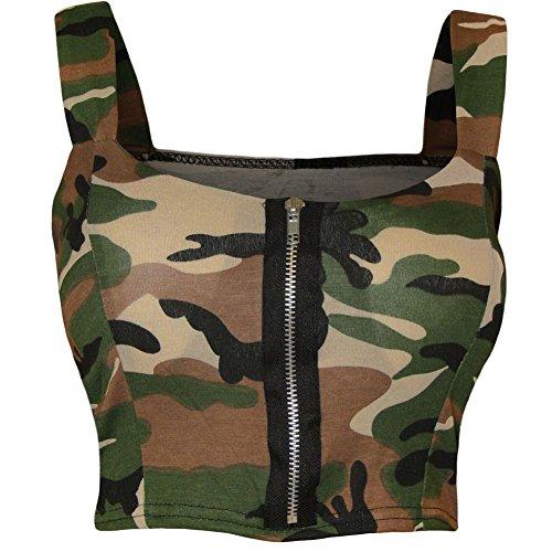 Janisramone donne zip anteriore crop top imbottito boobtube reggiseno Pietra dell'esercito