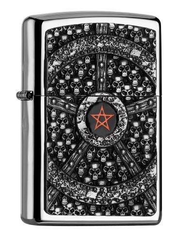 Zippo PL Skull Pentagram Feuerzeug, Messing, Edelstahloptik, 1 x 3,5 x 5,5 cm