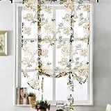 RFKMS Rustikal Floral Sheer Vorhänge embroideied Peony Tüll Voile Vorhang Panels Rod Pocket Schlafzimmer Vorhänge für Wohnzimmer/Glas-Schiebetür Tür Multi Größe, Gelb, 120 cm x 120 cm