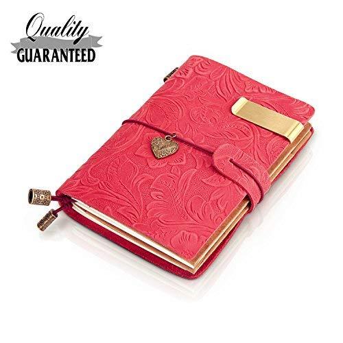 sueroom-100% Handarbeit Vintage Leder Blumen Geprägt Tagebuch anpassbare & nachfüllbar--navy 5.3 X 3.9 rot -