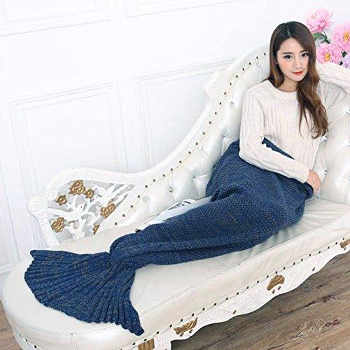 """Handgefertigt Strick Meerjungfrau Schwanz Decke, Mermaid Crochet Decke für Erwachsene, All Season Schlafsack 71"""" x 35"""" (180× 90cm) (Navy blau)"""