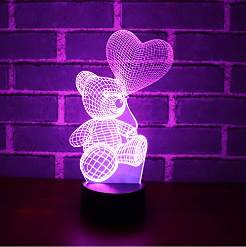 3d Led Night Lights Ballon Bear With 7 Colors Light For Home Decoration Lamp Amazing Visualization Optical Illusion Awesome (Ballon Led Lights)