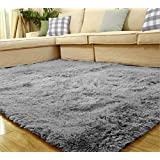 Yontree Anti-skid Living Room Soft Carpets Floor Mat Shaggy Area Rug Silver Gray by Yontree