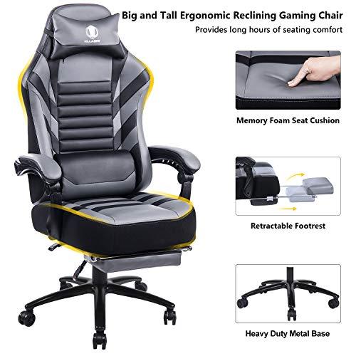 KILLABEE großer Memory Foam Gaming Stuhl - Verstellbarer Neigungswinkel, Rückenwinkel und 3D-Arme. Ergonomische hohe Rückenlehne aus Leder .Exklusiver Computer-Schreibtisch. Bürostuhl mit Metallsockel -