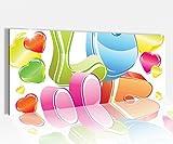 Acrylglasbild 100x40cm Love Liebe Text Herz Herzen blau rot Cartoon Schlafzimmer Acrylbild Acryl Druck Acrylglas Acrylglasbilder 14A8702, Acrylglas Größe1:100cmx40cm