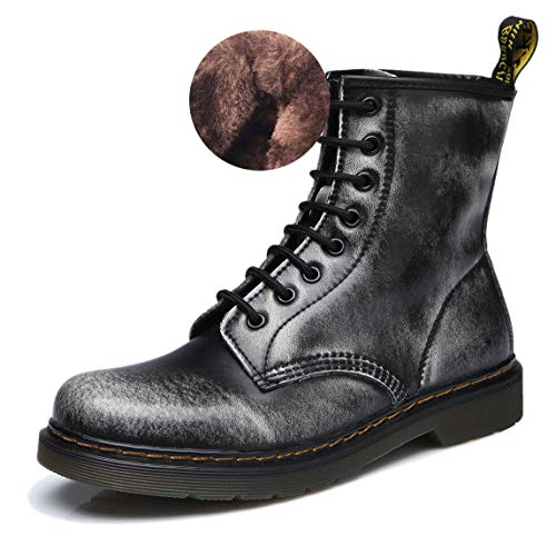 uBeauty Damen Martin Stiefel Flache Boots Klassischer Stiefeletten Schnüren Freizeitschuhe Grau 42 EU