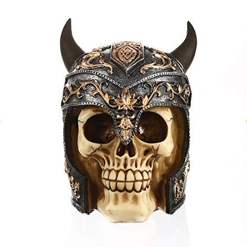 ZHZX Krieger-Schädel-Dekor, nordische Muster-Horn-Sturzhelm-Skelett-Kunstharz-Skulptur, Fotografie-Requisiten, für Hauptdekoration Halloween