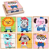 Whiie891203 Puzzle IQ Game Educational Toys,Wooden Cartoon Print Building Block Puzzle Learning Toy for Kids Birthday Choice