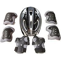 Yvsoo Protecciones Patines Niño 7Pcs Casco Brazales Protector de odo Rodillera Equipo de Protección para Skate Ciclismo, 5-11 años (Negro)