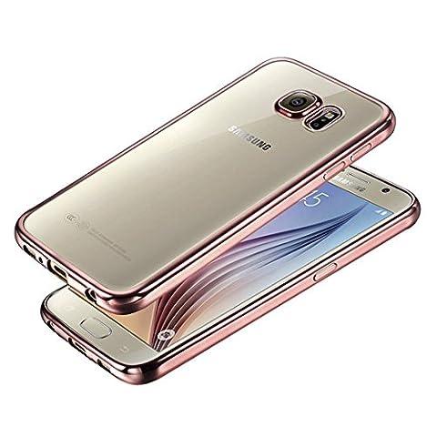 DBIT Galaxy S6 hülle, Schlank Zerklüftet Langlebig Handy-Gehäuse Hülle Tasche Plating TPU Case Schutzhülle Silikon Crystal Case Durchsichtig Für Samsung Galaxy S6,Rose