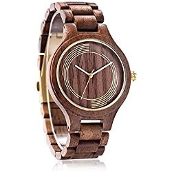 Black Wooden Analog Watch, Omelong® Super Thin Watch Case, Gold Circles on Dail, Ideal Gift for Man, Two Colors For Choice