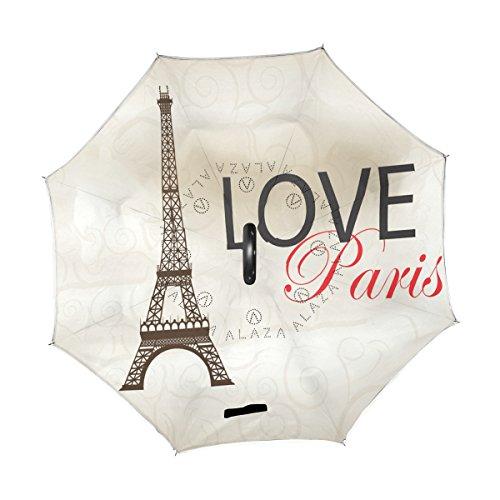 ALAZA Love Paris Eiffelturm Romance Travel seitenverkehrt Regenschirm Double Layer Winddichte Rückseite Faltbarer Regenschirm für Auto mit C-förmigem Henkel -