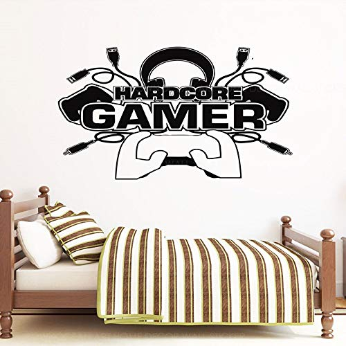 WWYJN Hardcore Gamer Wall Sticker Vinyl Home Decor for Teens Boys Bedroom Playroom Dorm Game Controller Decals Video Games Murals86x57cm -