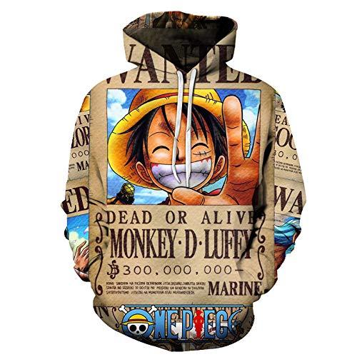 c36d18b8 Sudadera con Capucha,One Piece Series Men,Cartoon Hoodie 3D Printed  Long-Sleeved
