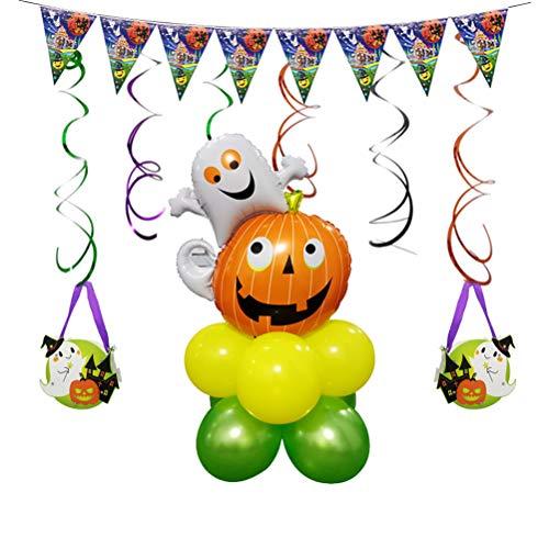 YEAHIBABY Halloween Luftballons,Kürbis Geist Muster Ballon Set für Halloween Party Dekorationen