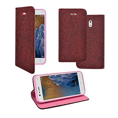 Preisvergleich Produktbild Kompatibel mit Nokia 3 Glitzer Dunkelrot Design Pu Leder Book Flip Schutzhülle
