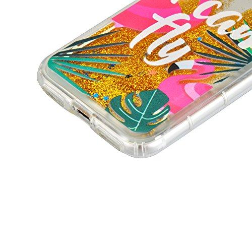 """Coque pour iPhone 7 Plus 5.5"""" Case pour iPhone 8 Plus Case , Sunroyal TPU Transparent Coque Case Cover de [Protection Pare-Chocs] Coussin d'Air Flex Soft Portable Shell Bling Bling Extra Slim Skin Par Flamingo 01"""