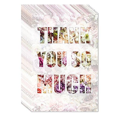 Dankeskarten, Thank you sou much, 3D-Effeckt-Lack, 10 Karten inkl. 10 Umschlägen, Danke sagen, Hochzeit, Geburt, Baby, Taufe, Geburtstag, Jubiläum