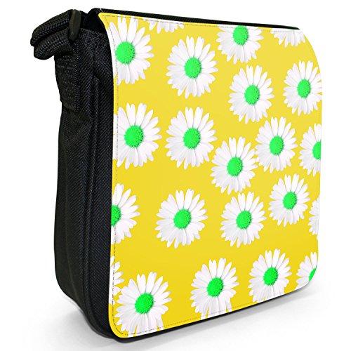 Dainty margherite-Borsa a tracolla in tela, piccola, colore: nero, taglia: S Nero (Yellow Dainty Daisies)