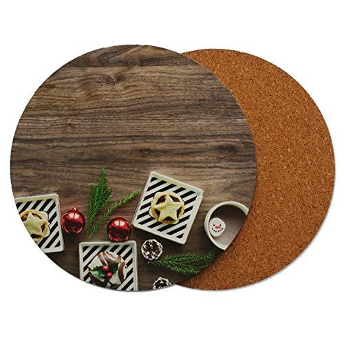 Sottobicchiere rotondo in legno, decorazione natalizia per torte e dolci, con retro in sughero, 95 x 95 mm, Legno, Multicolore, Confezione da 8