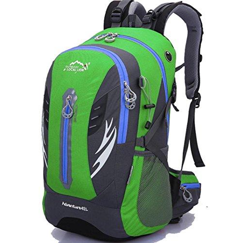 Outdoor Wandern Klettern Rucksack Radfahren Rucksack Wasserdichte Bergsteigen Tasche 42L Unisex Hochleistungs-Reisetasche green