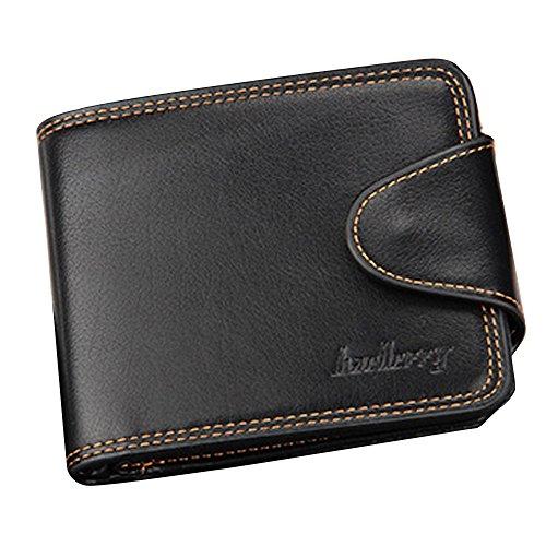 JERFER Herrenmode Leder Identifikation-Kartenhalter Brieftasche Portemonnaie Handtasche (Schwarz)