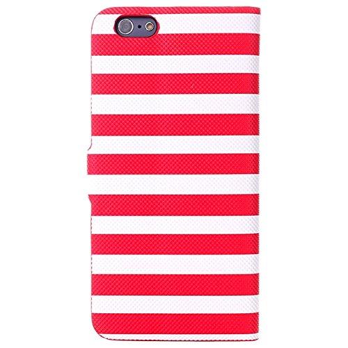 Phone case & Hülle Für IPhone 6 u. 6S, Streifen-Muster-horizontaler Schlag-Leder-Kasten mit Halter für IPhone 6 u. 6S ( Color : Brown ) Red
