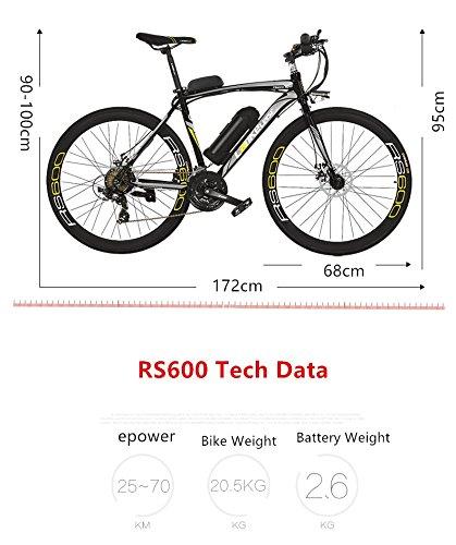 51Ml9Q3b2FL - Cyrusher RS600 Mans 50cm x 700c Road Bike 21 Speeds Electric Bike 240W 36V 15AH Removable Lithium Battery Mountain Bike City Bike Power Assist with Carbon Steel Frame & Dual Disc Brakes
