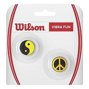 Wilson Vibrationsdämpfer für Tennisschläger in Ying Yang/Friedenszeichen-Form, Vibra Fun, 2er Pack, schwarz/gelb/orange, WRZ537200