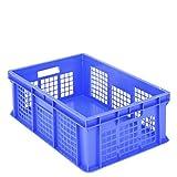 BITO–1.283Euro Container BN, stapelbar mit Wände perforiert blau Gr. 21,5cm x 60cm x 40cm