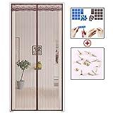 Magnet fliegengitter tür Vorhang anti-insekten, Stripe Türen mit magneten bildschirm Mesh Vorhang Schließt automatisch Für balkon schiebetüren terrasse wohnzimmer kinderzimmer-Kaffee 70 x 200cm