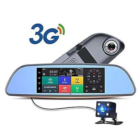 3G Auto DVR Android 5.0Bluetooth GPS FM Transmitter Dual Objektiv Rückspiegel Kamera Automovil WiFi 17,8cm Touch Bildschirm + 32G Karte