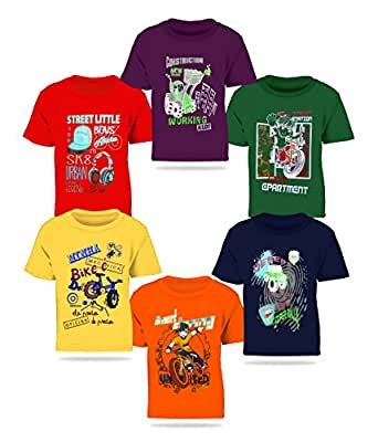 Kiddeo Boy's Cotton T-Shirt Multicolour_3-4 Years (Pack of 6)