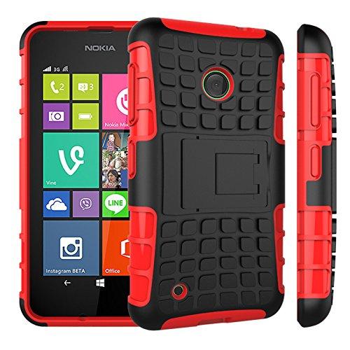 Qiaogle Telefon Case - Shockproof TPU + PC Hybrid Ständer Schutzhülle Case für Nokia Lumia 530 (4.0 Zoll) - HH01 / Rote (Nokia Lumia 530 Case Hybrid)