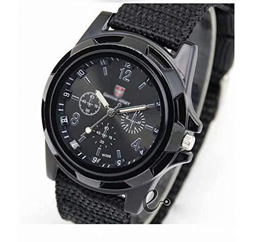 Doyime Mode Sport Stil Militaer- Armee Pilot Stoff Band Mann Armbanduhr Uhr Outdoor Nylon Armband Schwarz