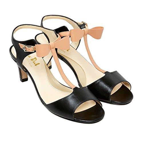 Van Dal Elegante Damen High Heel Sandaletten mit Schleife Schwarz / Graugelb