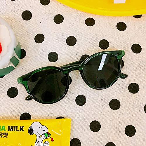 CYCY Sommer koreanische Version des Gesichts kleine Sonnenbrille Street Beat Flut rundes Gesicht Sonnenschirm Sonnenbrille weibliche dekorative Brille war dünn hell schwarz, grün Rahmen grau Stück