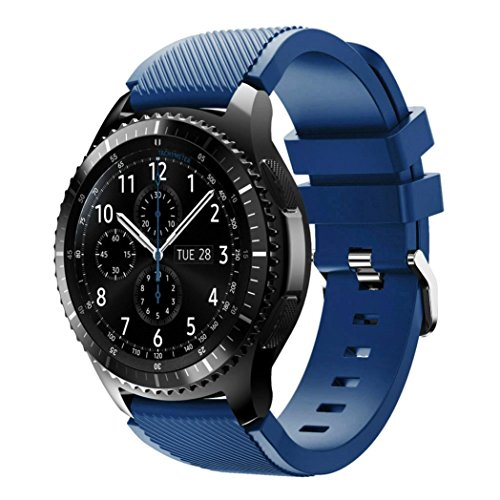 Preisvergleich Produktbild Sansee Neue Art und Weise Sport-Silikon-Armband-Bügel-Band für Samsung Gear S3 Frontier (Sport Armband Silikonband ) (Marine)