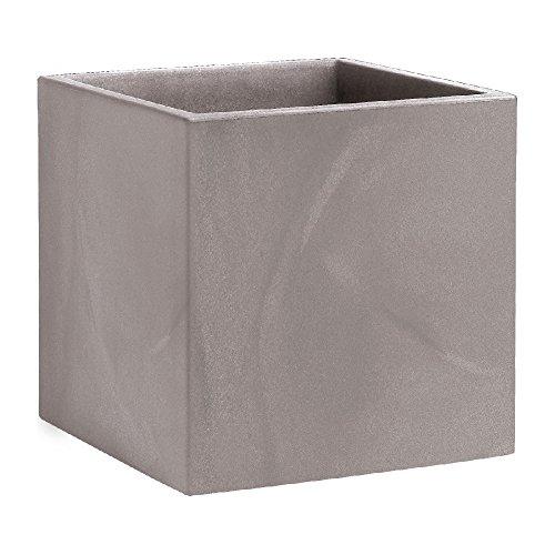 hydroflora 63002810 vaso quadrato Nicoli Momus 35 x 35 x 35 cm, colore grigio cenere opaco