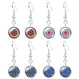 Boucles d'Oreilles De Yoga Bijoux 4 Paires De Pierres Précieuses Mandala Design Pendre Boucles d'Oreilles Crochet...