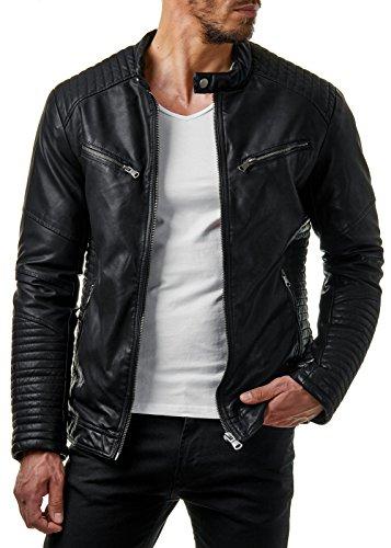 Prestige Homme Herren Biker-Jacke Kunst-Leder Gesteppt Gerippt Schwarz Grau MR03, Größe:L, Farbe:Schwarz 2