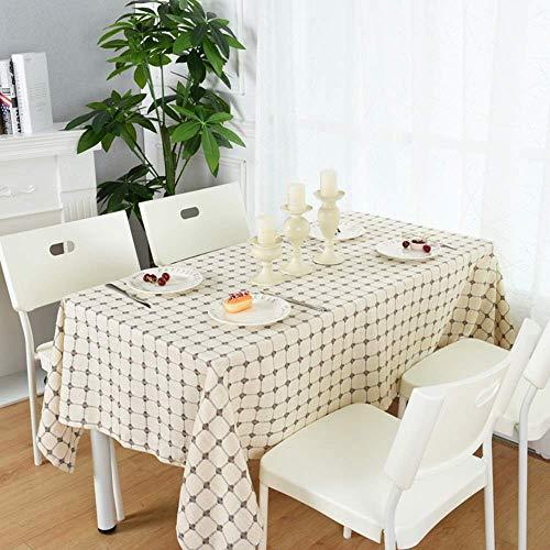 Tischdecke Hause Moderne einfache Karierten Stoff rechteckige Baumwolle Leinen Familie Stoff (Größe: 90 * 150 cm)