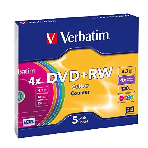 Verbatim DVD+RW 4,7 GB - 4-fache Brenngeschwindigkeit - hohe Lebensdauer - Kratzschutz - 5 Stück