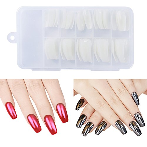 ulti-size False Nail Tipps Ballerina Sarg Form Fashion Beauty Hälfte Nail Art Tipps mit Box natur (Sarg-form)