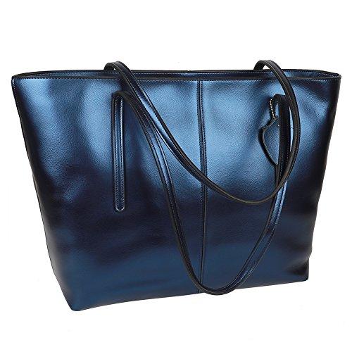 EGOGO Damen Handtasche weiches Echtleder Griff Schultertasche (Blau) Blau