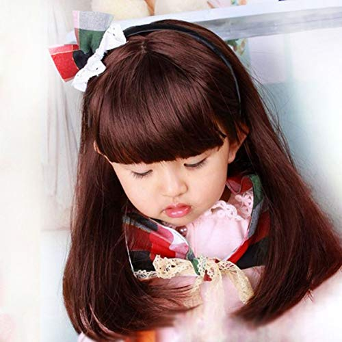 banbie8409 Reizende entzückende Jungen-Mädchen-Haar-Perücke-volle Kopf-Kinderperücken Nette Kinder, die täglich Haarteil für 5-10 Jahre alt tragen