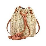 BASON bolso playa paja,bolsos playa,Bolsos tejidos nuevos del bolso de hombro de la honda del viaje del bolso del estilo retro trenzado paja