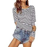 TWIFER Frauen Sweatshirt Solid T-Shirt O-Ausschnitt Mädchen Striped Loch Langarm Bluse Top