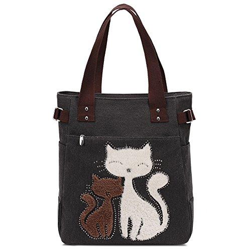 Moda Donna Vintage Tela Cute Cat Design Borsa Donna Casual Stile semplificato Tote Elegante Zaino Scuola Borsa Shopper Per teenager ragazza Black